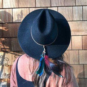 NWOT Free People Black Wool Hat w/Feathers - OS
